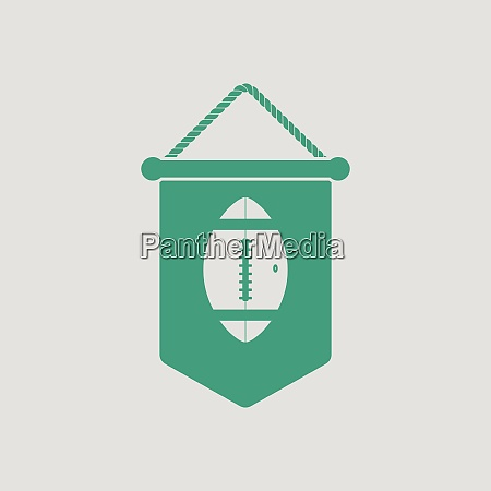 american football pennant icon gray background