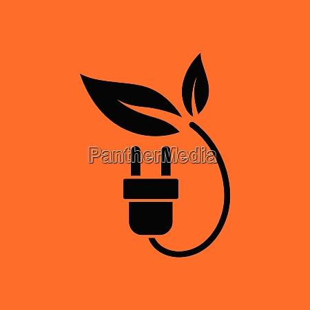 electric plug leaves icon orange background
