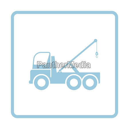 car towing truck icon blue frame