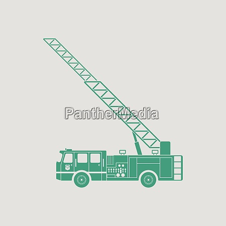fire service truck icon gray background