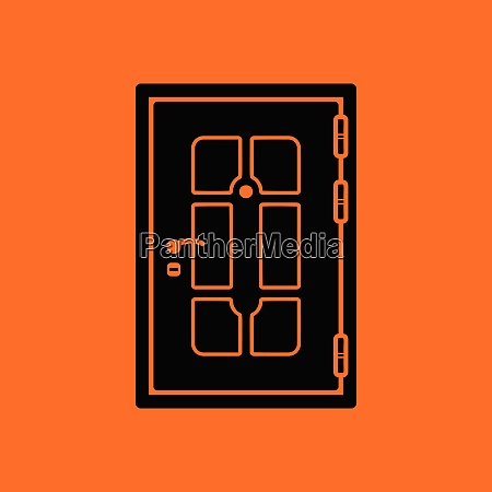 apartments door icon orange background with