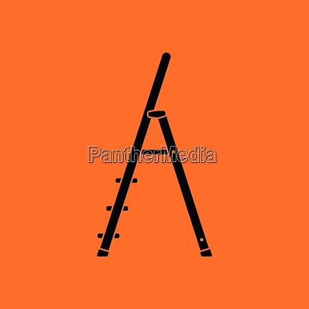 construction ladder icon orange background with