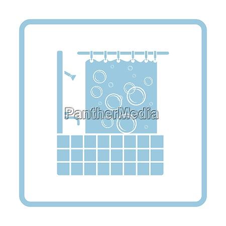 hotel bathroom icon blue frame design