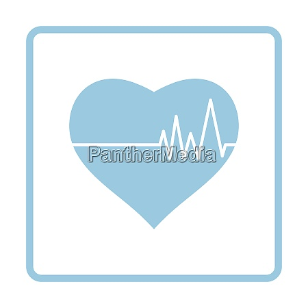 heart with cardio diagram icon blue