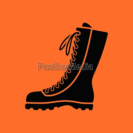 hiking, boot, icon., orange, background, with - 26243842