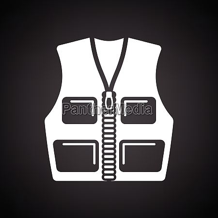 hunter vest icon black background with