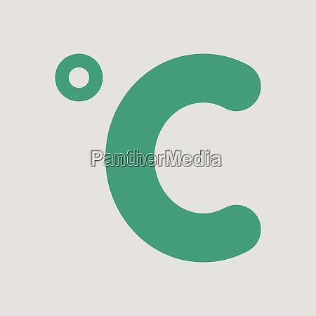 celsius degree icon gray background with