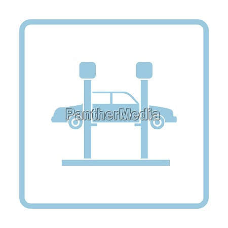 car lift icon blue frame design