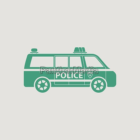 police van icon gray background with