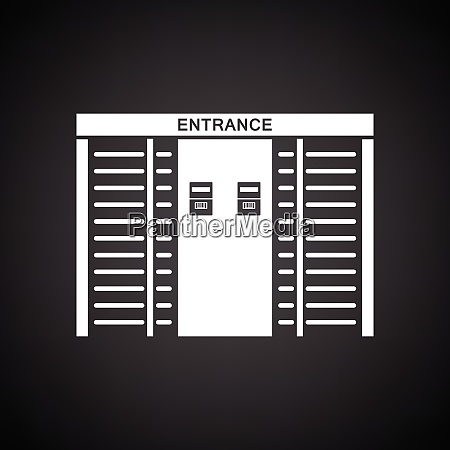stadium entrance turnstile icon black background
