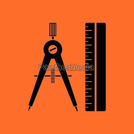 compasses and scale icon orange background