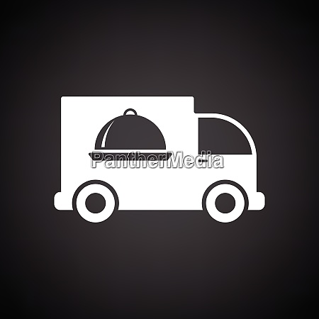 delivering car icon black background with