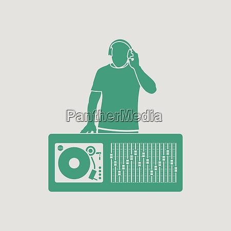 dj icon gray background with green
