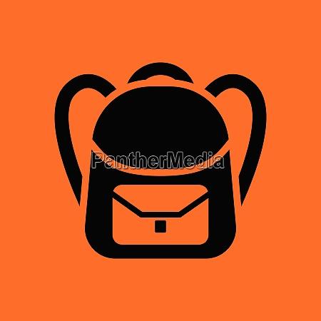 school rucksack icon orange background