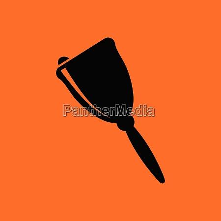 school hand bell icon orange background