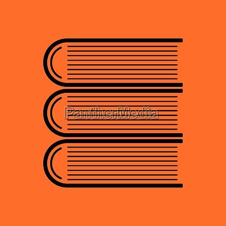 stack of books icon orange background
