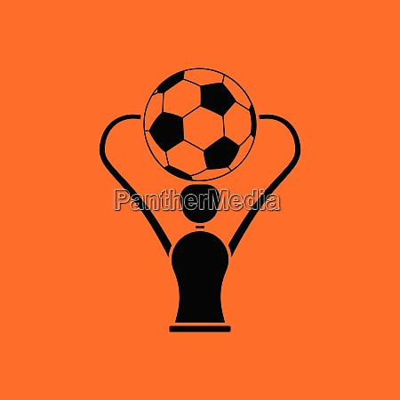 soccer cup icon orange background