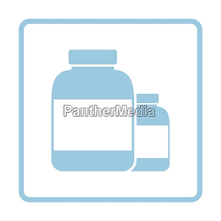 pills container icon blue frame design