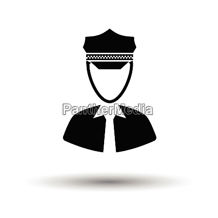 taxi driver icon white background with