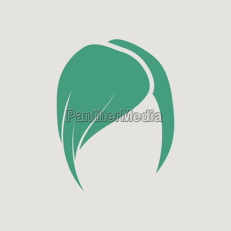 ladys hairstyle icon gray background with
