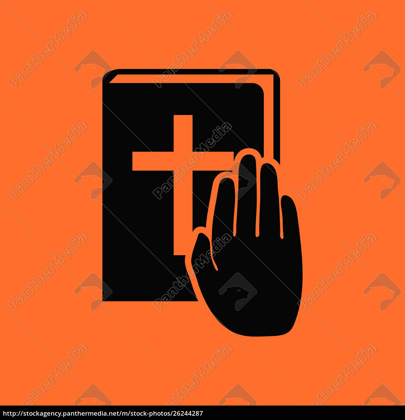 hand, on, bible, icon., orange, background - 26244287