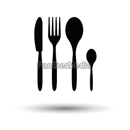 silverware set icon white background with