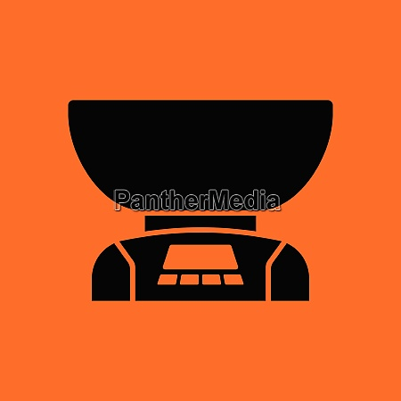 kitchen electric scales icon orange background