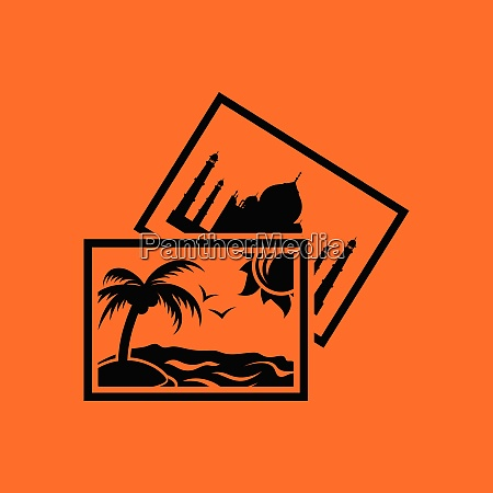 two travel photograph icon orange background