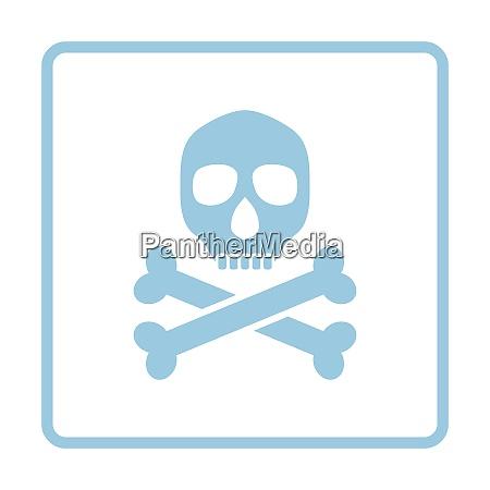 poison sign icon blue frame design