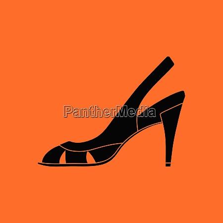 woman heeled sandal icon orange background