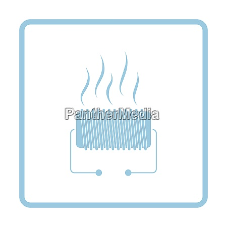 electrical heater icon blue frame design