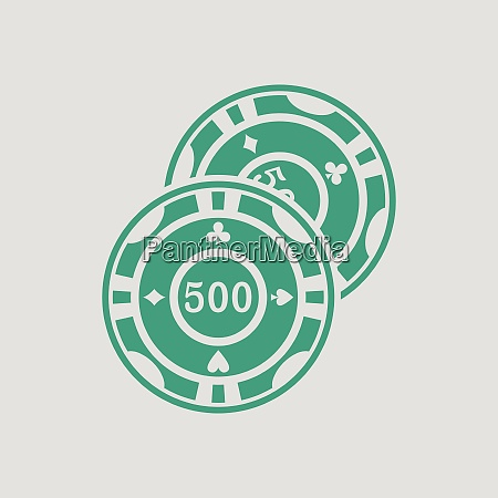 casino chips icon gray background with