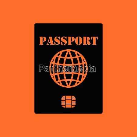 passport with chip icon orange background