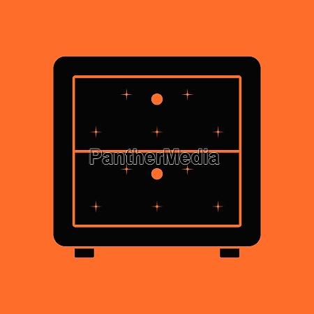 bedroom nightstand icon orange background with