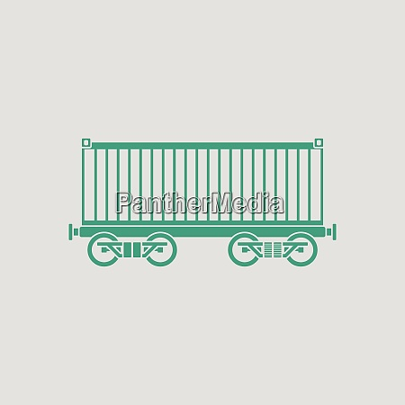 railway cargo container icon gray background