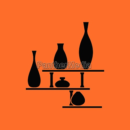 wall bookshelf icon orange background with