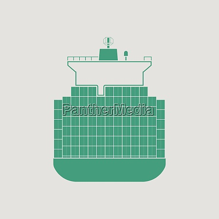 container ship icon gray background with