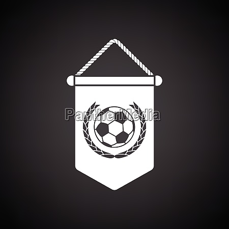 football pennant icon black background with