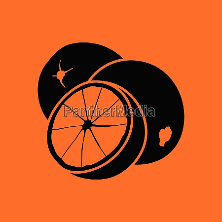 orange icon orange background with black
