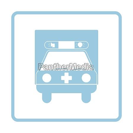 ambulance car icon blue frame design