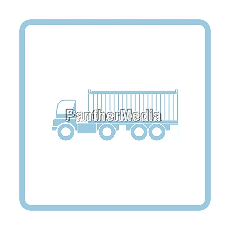 container truck icon blue frame design