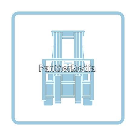 warehouse forklift icon blue frame design