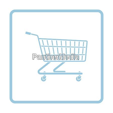 supermarket shopping cart icon blue frame