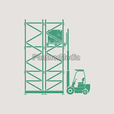 warehouse forklift icon gray background with