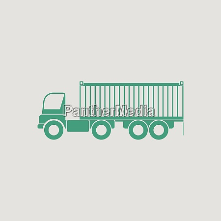container truck icon gray background with