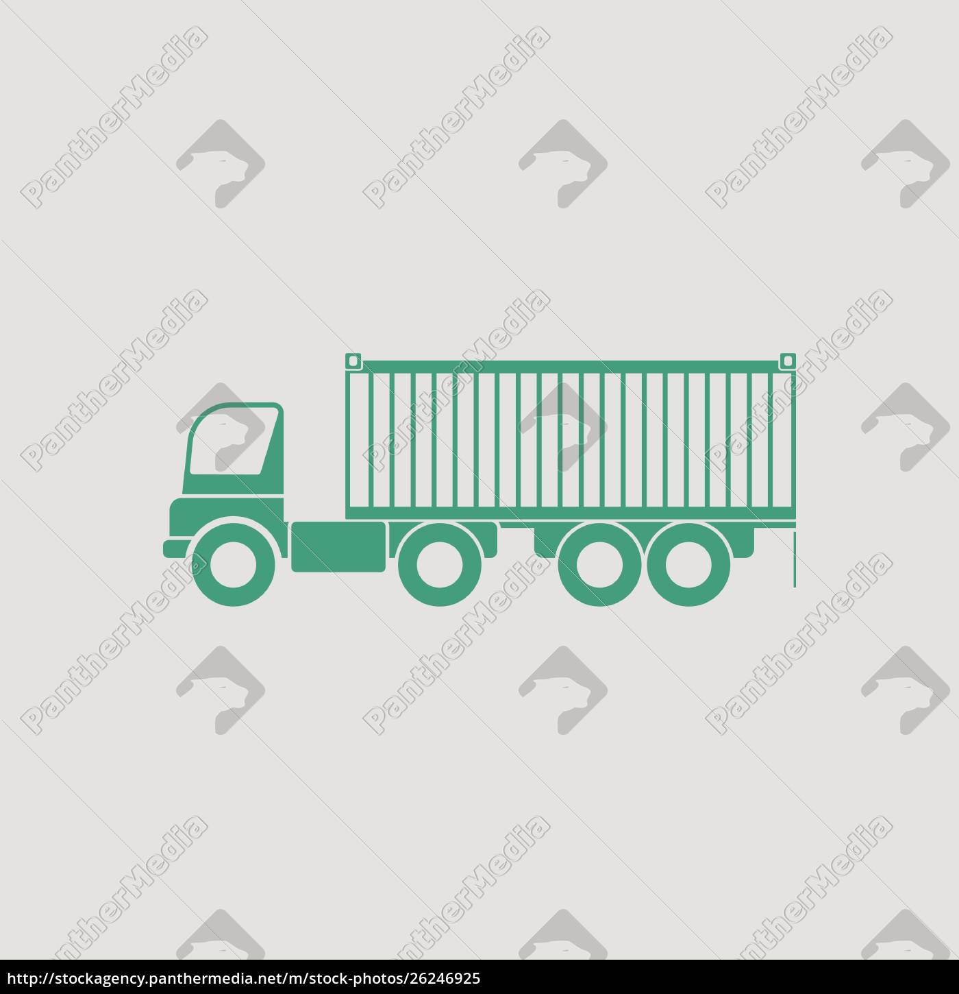 container, truck, icon., gray, background, with - 26246925