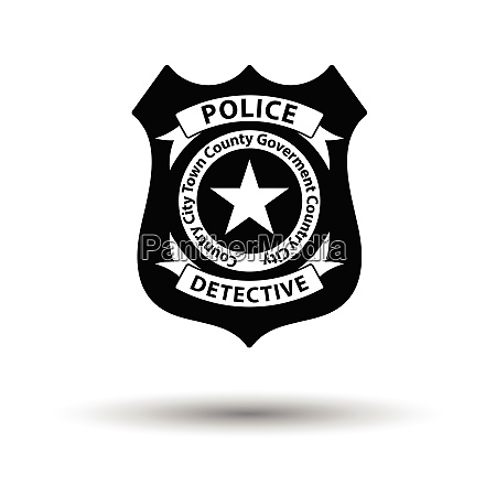 police badge icon white background with