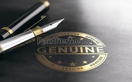 genuine authenticity certificate