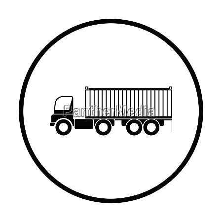 container truck icon thin circle design