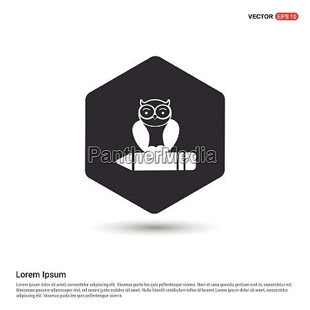 owl icon hexa white background icon